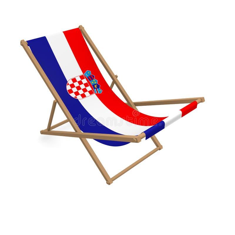 Deckchair с флагом или Хорватией иллюстрация вектора