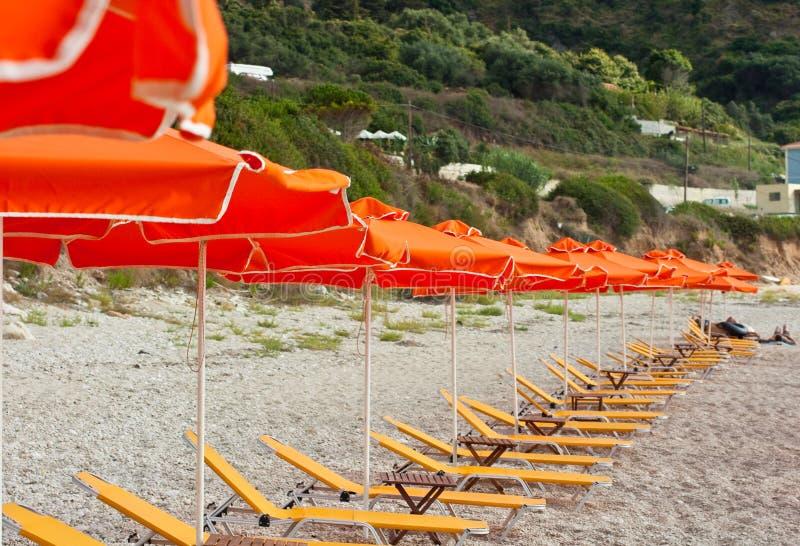 Deckchair amarelo foto de stock royalty free