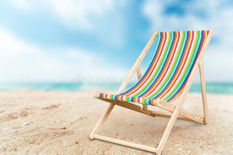 Deckchair. Chair beach lounger isolated leisure white stock photo