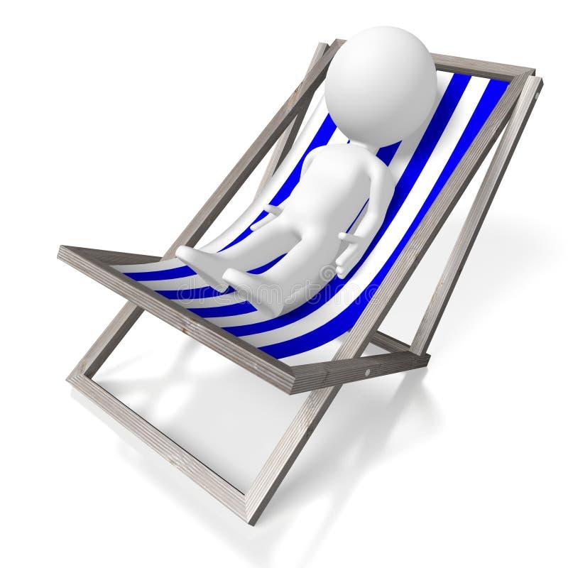 deckchair 3D, tomando sol o conceito ilustração stock
