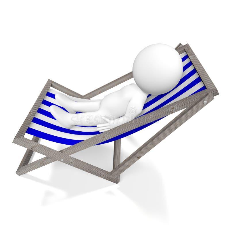 deckchair 3D, tomando sol o conceito ilustração royalty free