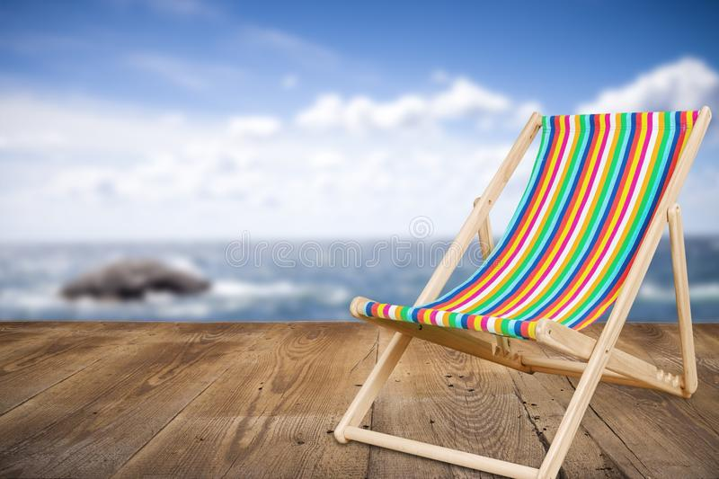 Deckchair. Chair beach lounger leisure white travel royalty free stock images