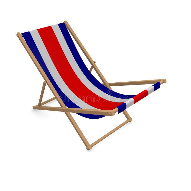 Deckchair med flaggan eller Costa Rica stock illustrationer