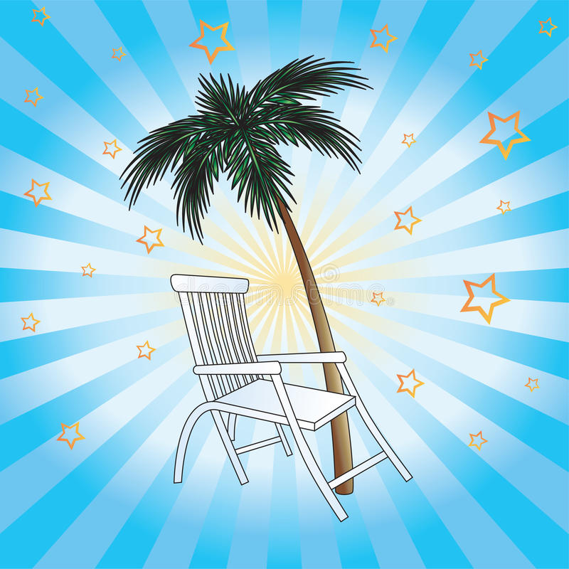 Download Deckchair and palm. stock vector. Image of group, design - 19473926