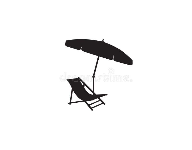 Deckchair-Regenschirmsommerstrandurlaubsymbol-Schattenbildikone Liege, Sonnenschirm lokalisiert Sunbath-Strandurlaubsortsymbol vo lizenzfreie abbildung