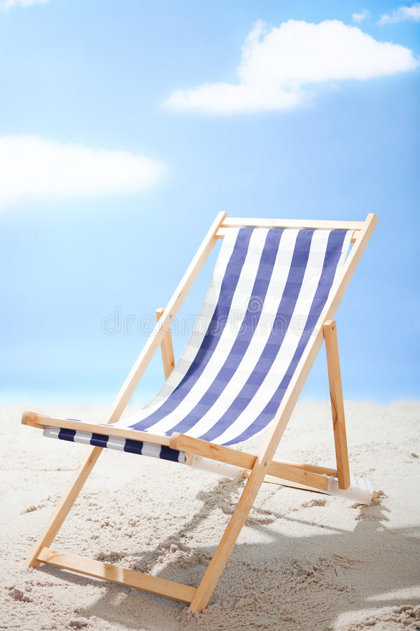 Download Deckchair Standing At The Sunny Beach Royalty Free Stock Image - Image: 23541096