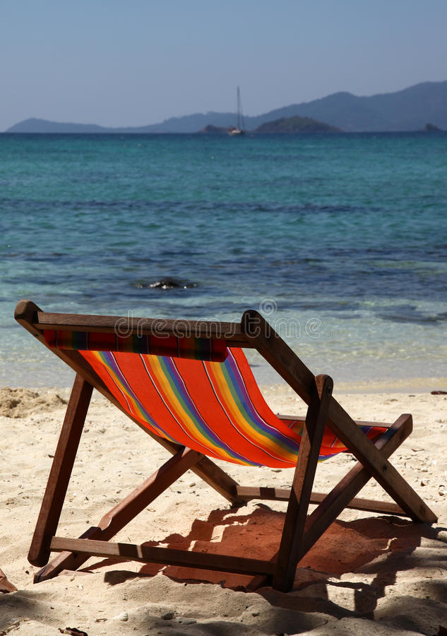 Deckchair. On the sunny beach royalty free stock photography