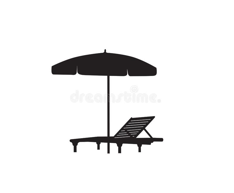 Deck chair umbrella summer beach holiday symbol silhouette icon. Chaise longue, parasol isolated. Sunbath beach resort symbol of. Deckchair umbrella summer beach royalty free illustration