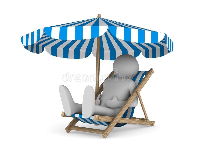 Deckchair und Sonnenschirm auf weißem Hintergrund lizenzfreie abbildung