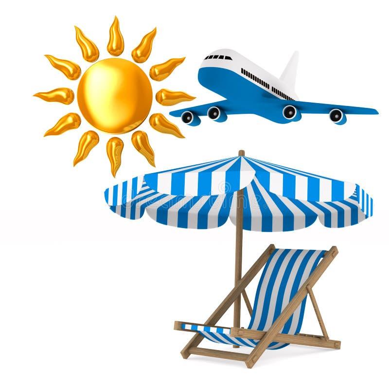 Deckchair und Sonnenschirm und Sonne auf weißem Hintergrund Lokalisiertes 3d I stock abbildung