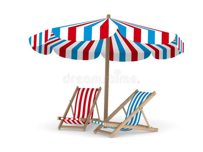 Deckchair zwei und Sonnenschirm auf weißem Hintergrund stock abbildung