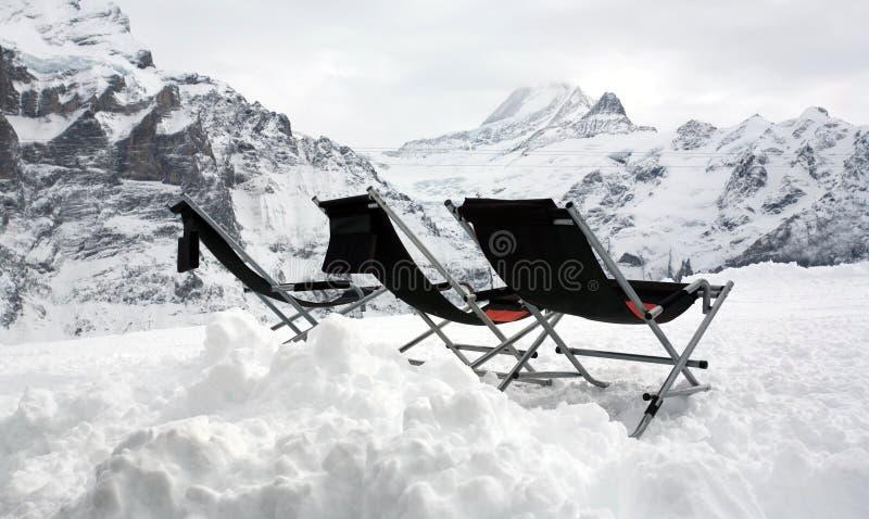 deckchairs倒空山三顶层 库存图片