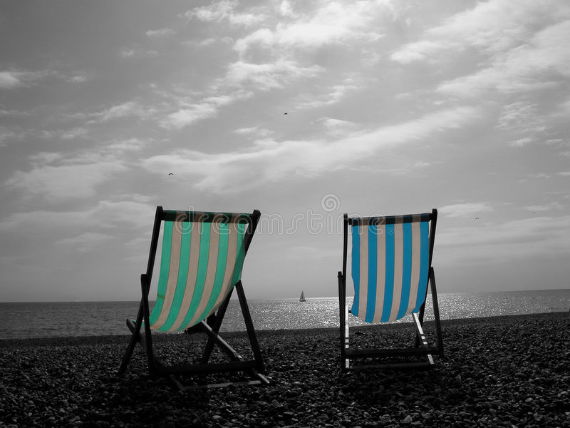 Deckchairs Obraz Royalty Free