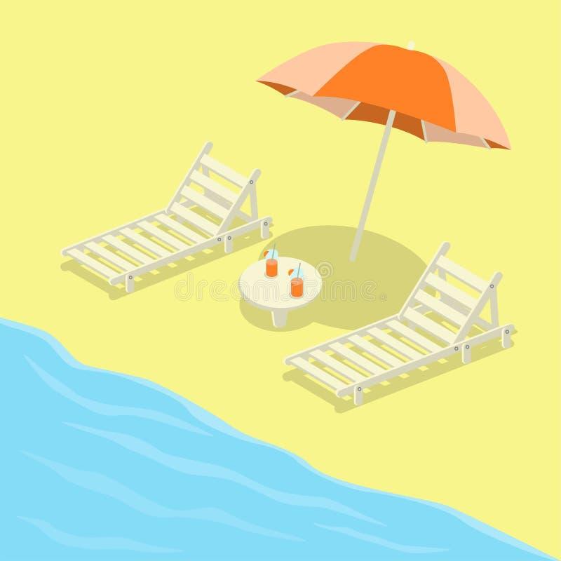 Deckchairs auf dem Strand mit Regenschirm lizenzfreie abbildung