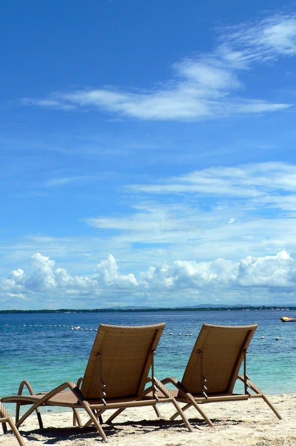 Deckchairs on Beach, Cebu, Philippines