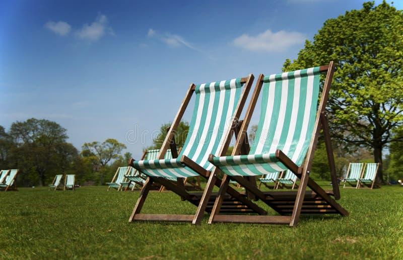 deckchairs Hyde London park fotografia stock
