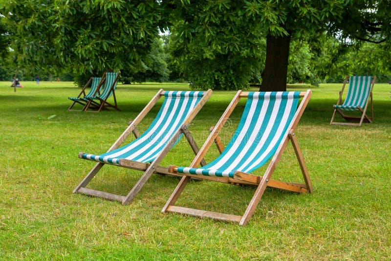 Deckchairs. Londyn, UK fotografia stock
