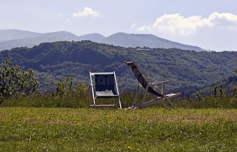 deckchairs otwierają obrazy royalty free