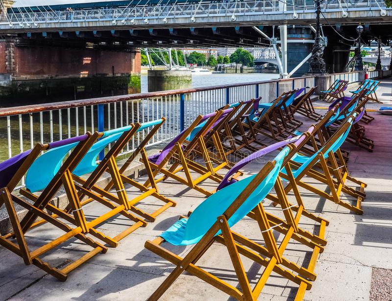 Deckchairs w Londyn, hdr fotografia stock