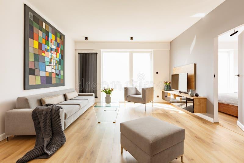 Decke auf grauer Couch im geräumigen Wohnzimmerinnenraum mit Puff stockfotografie