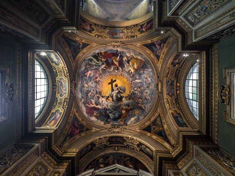 Decke einer Kathedralenkapelle gemalt mit dem Bild von Jesus Ch lizenzfreie stockfotografie