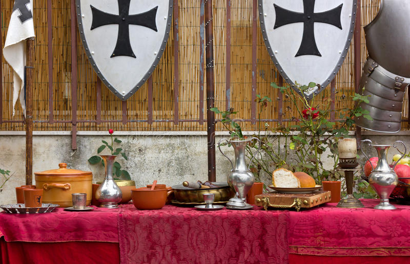 Decked Table at a Historical Reenactment. Decked table at a medieval historical reenactment royalty free stock photo