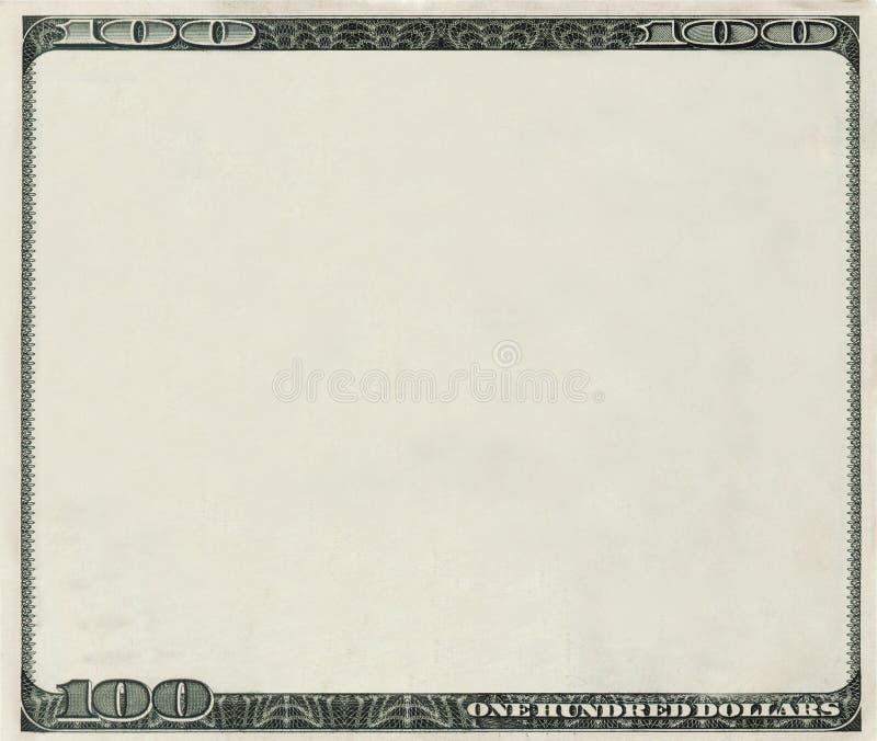 Decken Sie 100 Dollar Banknote mit copyspace ab vektor abbildung