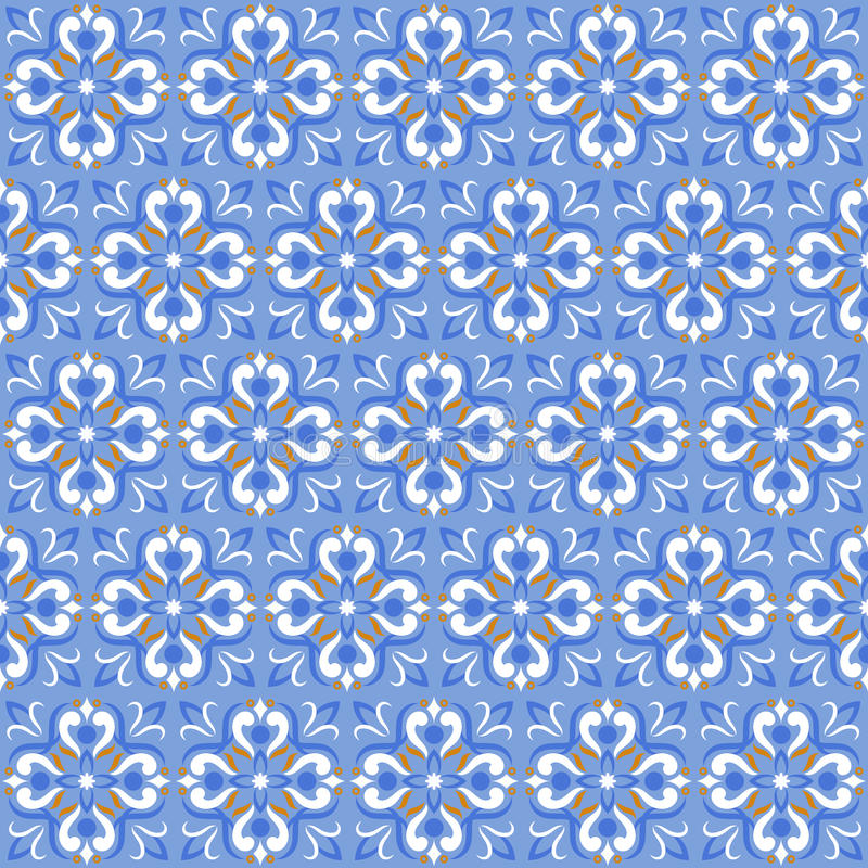 Decken Sie blaues Vektormuster des Druckes oder des keramischen nahtlosen Mosaiks der Beschaffenheit mit Ziegeln stock abbildung