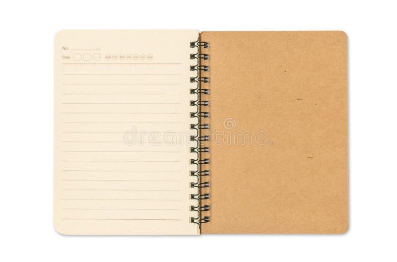 Decken Sie geöffnetes Anmerkungsbuch ab stockbild