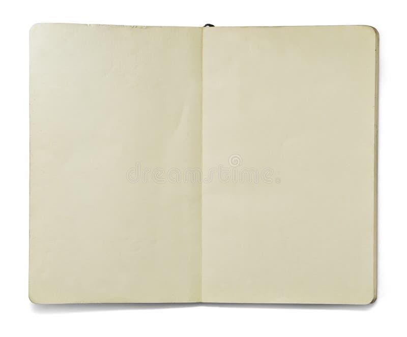 Decken Sie geöffnetes Anmerkungsbuch ab stockfotografie