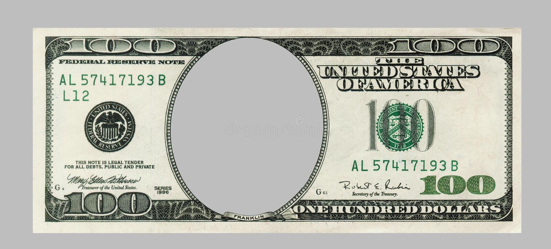 Decken Sie hundert Dollarbanknote mit AUSSCHNITTS-ÄNDERUNG AM OBJEKTPROGRAMM ab lizenzfreies stockbild