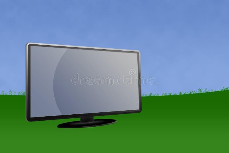 Decken Sie LCD-Überwachungsgerät mit Landschaftshintergrund ab stock abbildung