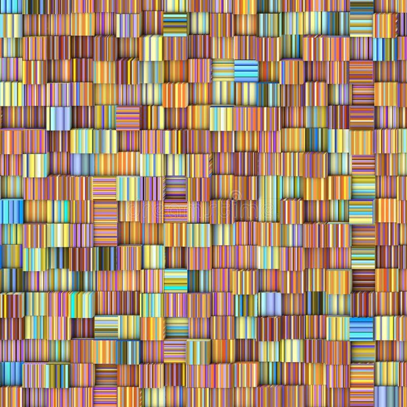 Decken Sie Mosaikmusterhintergrund in gestreifter Regenbogenfarbe mit Ziegeln stock abbildung