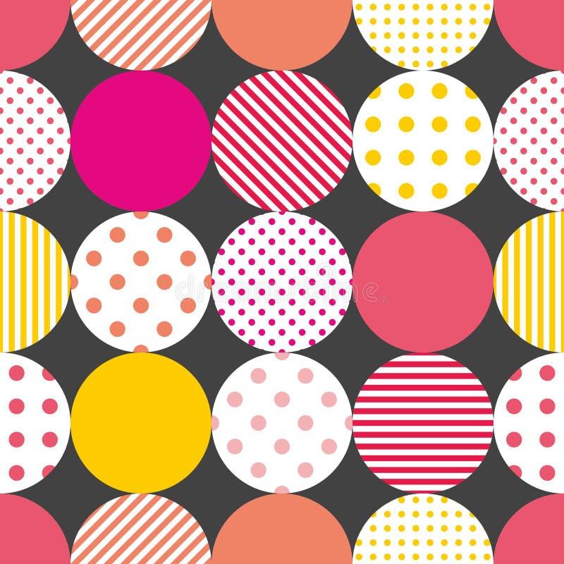 Decken Sie Patchworkvektormuster mit Pastelltupfen auf schwarzem Hintergrund mit Ziegeln stock abbildung