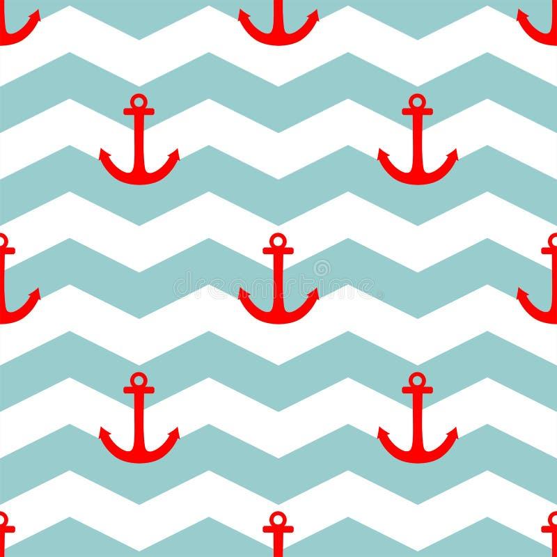 Decken Sie Seemannvektormuster mit rotem Anker auf Hintergrund der weißen und blauen Streifen mit Ziegeln vektor abbildung