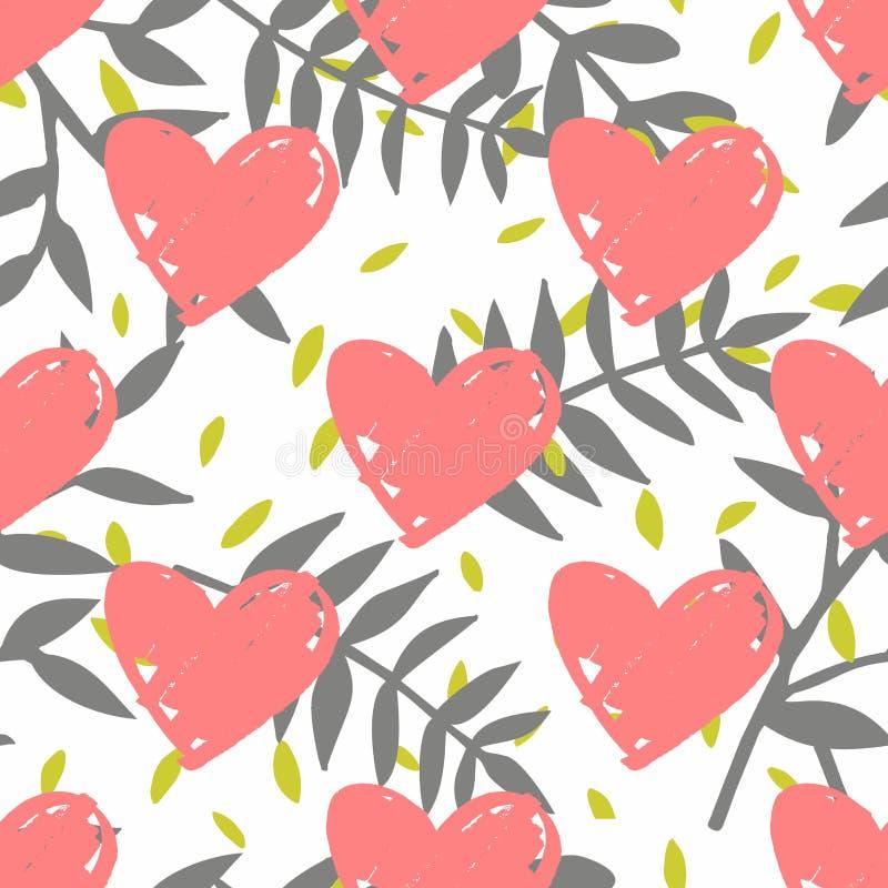 Decken Sie tropisches Vektormuster mit exotischen Blättern und rosa Herzen auf weißem Hintergrund mit Ziegeln lizenzfreie abbildung
