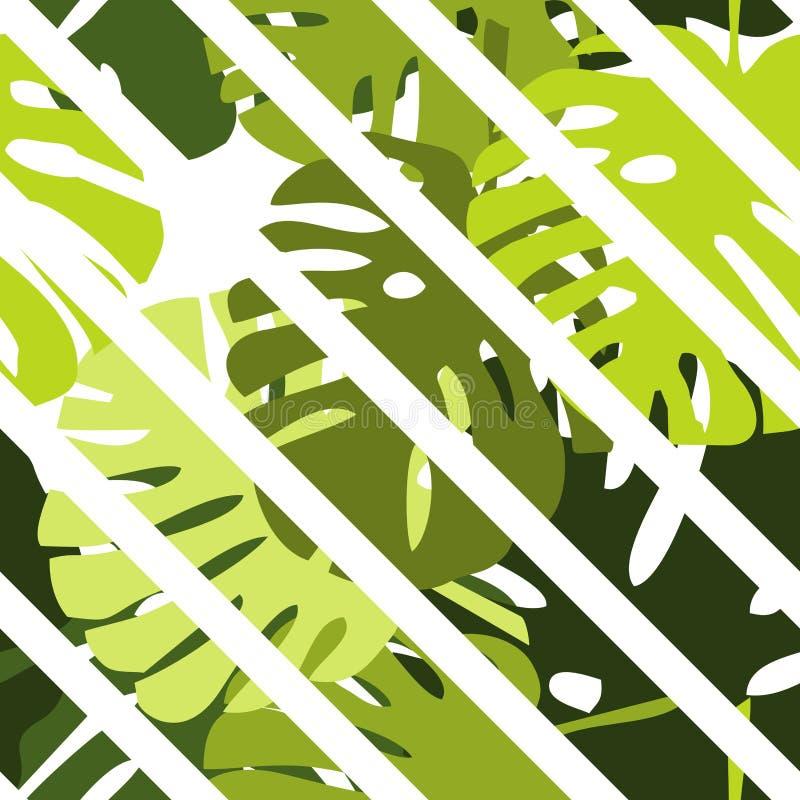 Decken Sie tropisches Vektormuster mit grünen exotischen Blättern und Weißstreifenhintergrund mit Ziegeln vektor abbildung