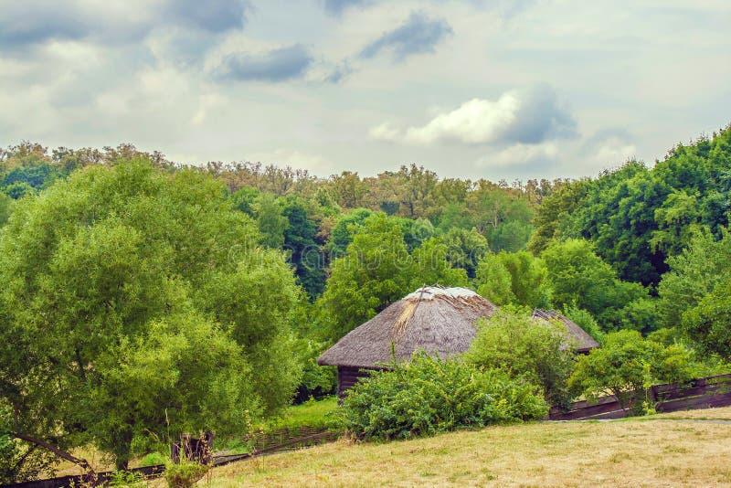 Decken Sie ukrainische Hütte am Rand des Waldes mit Stroh lizenzfreie stockfotografie