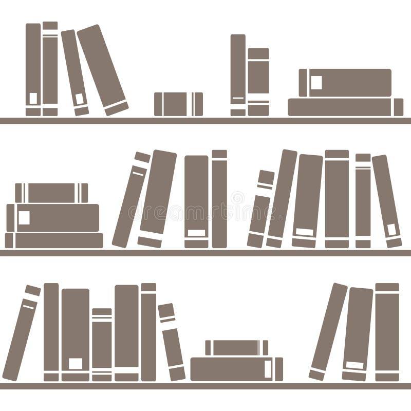 Decken Sie Vektormuster mit Büchern auf Regal auf weißem Hintergrund mit Ziegeln lizenzfreie abbildung