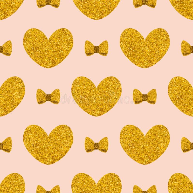 Decken Sie Vektormuster mit goldenen Herzen und Bögen auf rosa Pastellhintergrund mit Ziegeln vektor abbildung