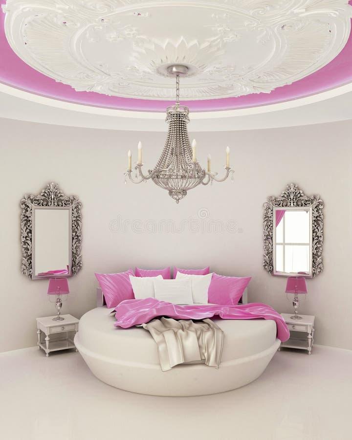 Deckendekor im modernen Schlafzimmer lizenzfreie stockbilder
