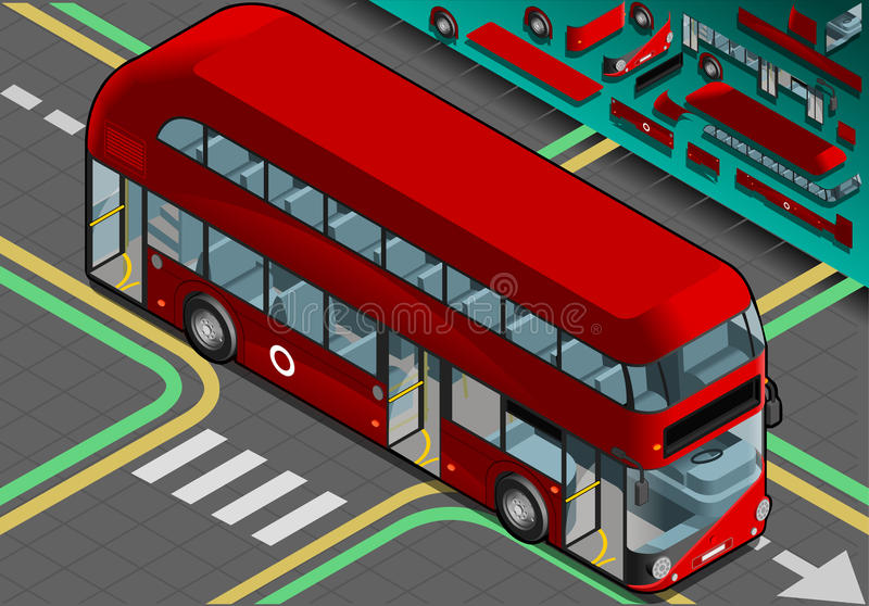 Decker Bus doble isométrico con las puertas abiertas stock de ilustración