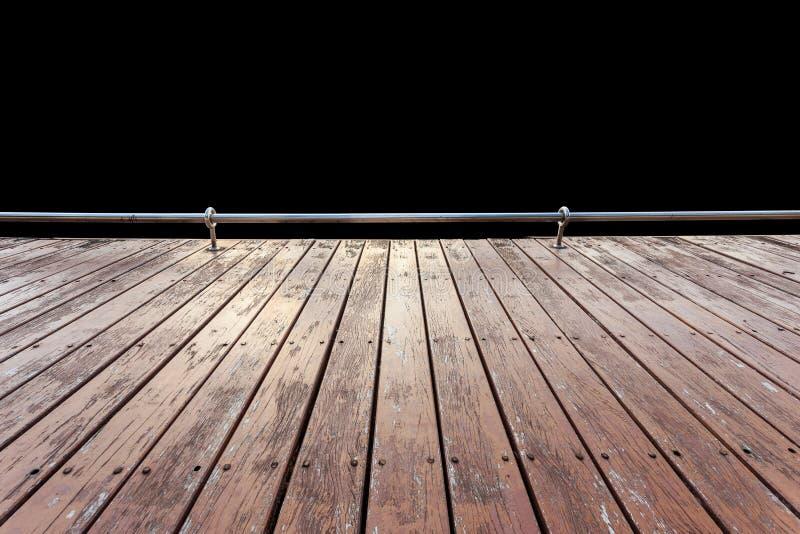 Decking o suelo de madera exterior viejo aislado en blanco salvado foto de archivo libre de regalías