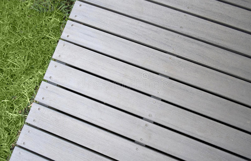 Decking. With stainless steel screws stock images