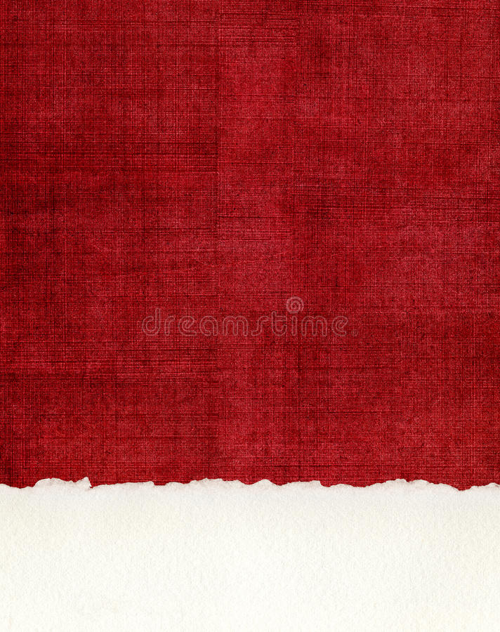 Deckled Paper Edge on Red Cloth stock images