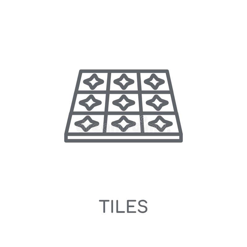 Deckt lineare Ikone mit Ziegeln Moderner Entwurf deckt Logokonzept auf weißem Ba mit Ziegeln stock abbildung