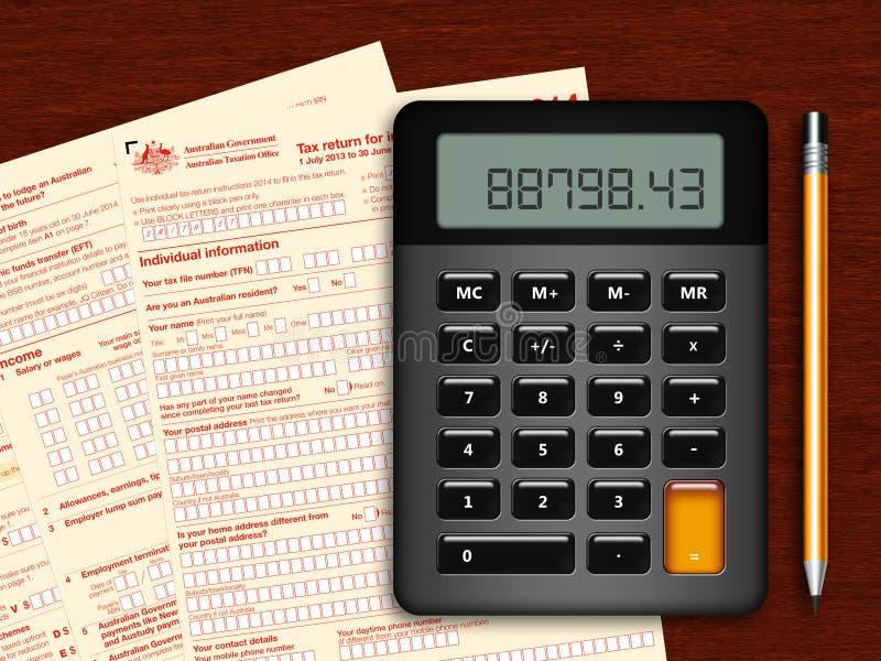 Declaração de rendimentos australiana com calculadora e lápis na tabela de madeira ilustração stock