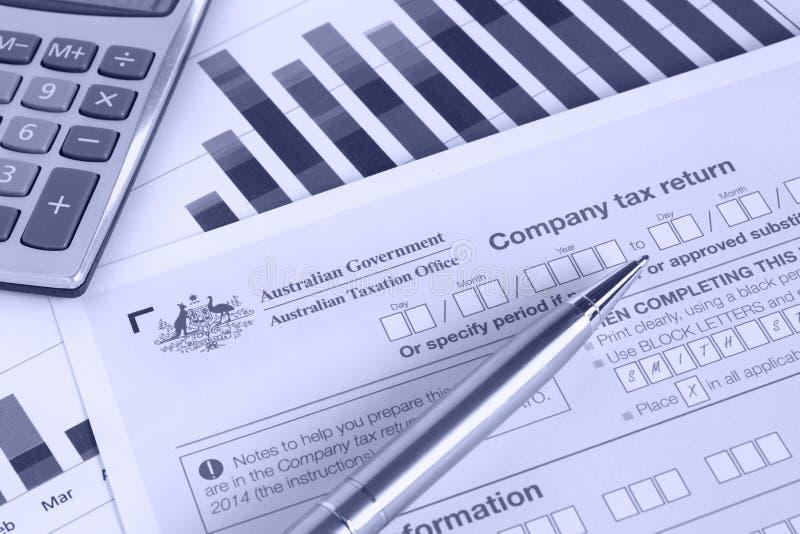 Declaração de rendimentos de Australiano Empresa fotografia de stock