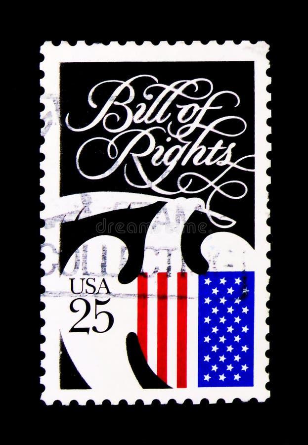 Declaración de Derechos, serie bicentenario de la serie de la constitución, circa 1989 imágenes de archivo libres de regalías