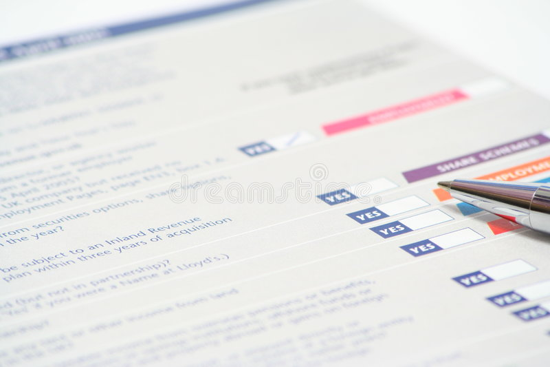 Declaración de impuestos imagenes de archivo